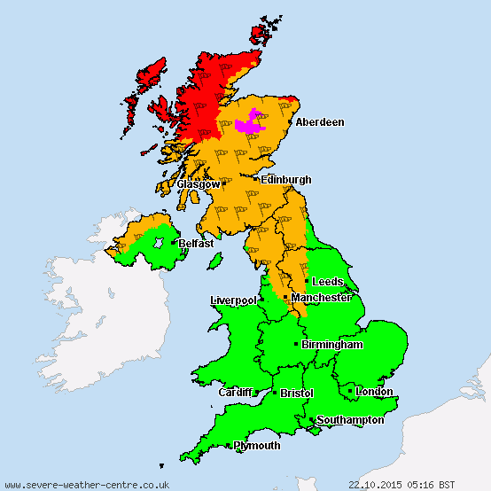 Warnings issued by the MeteoGroup for the UK
